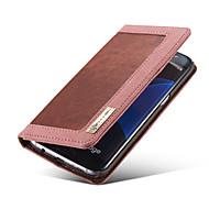 Для Samsung Galaxy S7 Edge Бумажник для карт / Кошелек / со стендом / Флип / Магнитный Кейс для Чехол Кейс для Один цветИскусственная