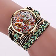 voordelige Modieuze horloges-Dames Modieus horloge Armbandhorloge Kwarts Leer Band Bloem Zwart Wit Blauw