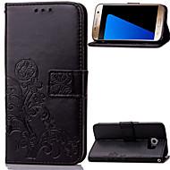 Недорогие Чехлы и кейсы для Galaxy Note-Кейс для Назначение SSamsung Galaxy Samsung Galaxy Note Бумажник для карт Кошелек со стендом Флип Рельефный Чехол Цветы Кожа PU для Note