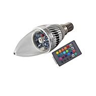 お買い得  -3W E14 LEDキャンドルライト T 1 LEDの ハイパワーLED リモコン操作 装飾用 RGB 200-250lm RGBK AC 85-265V
