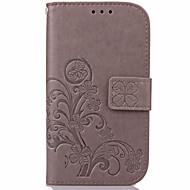 Недорогие Чехлы и кейсы для Galaxy J1-Для Кейс для  Samsung Galaxy Бумажник для карт / Кошелек / со стендом / Флип / Рельефный Кейс для Чехол Кейс для Цветы Искусственная кожа