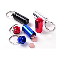 abordables Gran promoción para el hogar-impermeable pequeño recipiente metálico de aluminio píldora cuadro titular de la medicina llavero botella de embalaje