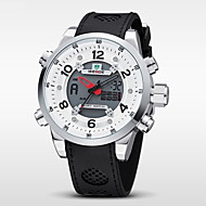 WEIDE 남성 손목 시계 디지털 시계 LCD 달력 크로노그래프 방수 듀얼 타임 존 경보 석영 디지털 일본 쿼츠 고무 밴드 블랙
