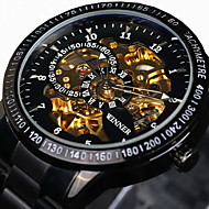 halpa Merkkikellot-WINNER Miesten Automaattinen itsevetävä mekaaninen Watch / Rannekello Vedenkestävä / Hollow Engraving / nopeusmittarin / Tyylikäs /