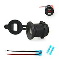 Недорогие Автомобильные зарядные устройства-iztoss 2.1a& 2.1а Dual USB разъем зарядного устройства телефона зарядное устройство источник питания с вольтметром света и 15cm шнуры