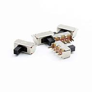 abordables Piezas de Bricolaje y Manualidades-12 mm de 3 polos interruptor de palanca - plata (5pcs)