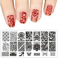 abordables Adhesivos para Uñas-1PC Moldes Acrílicos de Uña 3D Diecut Manicure Stencil arte de uñas Manicura pedicura Encantador Flor / Dibujos / Metal