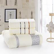 voordelige Badkamergadgets-Frisse stijl Badlaken Set, Effen Superieure kwaliteit 100% puuvillaa Gebreid Handdoek