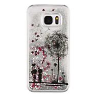 Недорогие Чехлы и кейсы для Galaxy S7 Edge-Для Samsung Galaxy S7 Edge Движущаяся жидкость / Прозрачный / С узором Кейс для Задняя крышка Кейс для Одуванчик Твердый PC SamsungS7