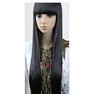 halpa -Synteettiset peruukit Suora Otsatukalla Tiheys Suojuksettomat Naisten Musta Carnival Peruukki Halloween Peruukki musta Wig Hyvin pitkä