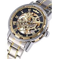 Недорогие Фирменные часы-WINNER Муж. Наручные часы Механические часы С автоподзаводом С гравировкой Нержавеющая сталь Группа Аналоговый Роскошь Серебристый металл - Золотой