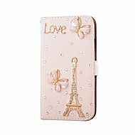 Для Кейс для  Samsung Galaxy Бумажник для карт / Стразы / Флип Кейс для Чехол Кейс для Эйфелева башня Искусственная кожа SamsungS7 edge /