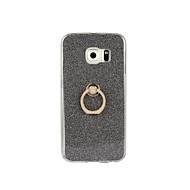 For Samsung Galaxy S7 Edge Ringholder Etui Bagcover Etui Glitterskin Blødt TPU for Samsung S7 edge S7 S6 edge plus S6 edge S6 S5