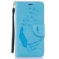 voordelige Galaxy J1(2016) Hoesjes / covers-hoesje Voor Samsung Galaxy Samsung Galaxy hoesje Kaarthouder Portemonnee Strass met standaard Flip Volledig hoesje Veren Zacht PU-nahka
