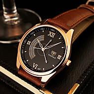 Недорогие Фирменные часы-YAZOLE Муж. Наручные часы Кварцевый Повседневные часы Кожа Группа Аналоговый Кулоны Нарядные часы Черный / Коричневый - Черный Коричневый Один год Срок службы батареи / SSUO 377