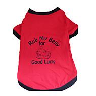 お買い得  -犬 Tシャツ 犬用ウェア 文字&番号 ブラック/レッド コットン コスチューム ペット用
