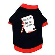お買い得  -ネコ 犬 Tシャツ 犬用ウェア 文字&番号 ブラック/レッド コットン コスチューム ペット用 男性用 女性用 クリスマス
