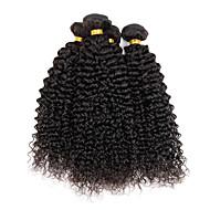 Недорогие Искусственные накладки и пряди-Натуральные волосы Индийские волосы Человека ткет Волосы Kinky Curly Вьющиеся волосы Наращивание волос 4 предмета Естественный цвет