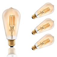 お買い得  -4W E26 フィラメントタイプLED電球 ST21 4 COB 320 lm アンバー 2200 K 調光可能 AC 110-130 V