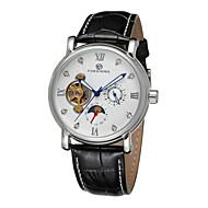 FORSINING Heren Dress horloge mechanische horloges Automatisch opwindmechanisme Hol Gegraveerd Leer Band Zwart Wit Zwart