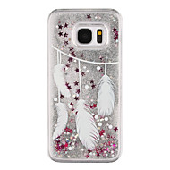 cheap Cases / Covers for Samsung-Case For Samsung Galaxy Samsung Galaxy S7 Edge Flowing Liquid Transparent Pattern Back Cover Feathers Hard PC for S7 edge S7