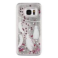 Недорогие Чехлы и кейсы для Galaxy S-Кейс для Назначение SSamsung Galaxy Samsung Galaxy S7 Edge Движущаяся жидкость / Прозрачный / С узором Кейс на заднюю панель  Перья Твердый ПК для S7 edge / S7