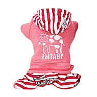 Dog Hoodie Jumpsuit Dog Clothes Casual/Daily Fashion Stripe Gray Red Costume For Pets