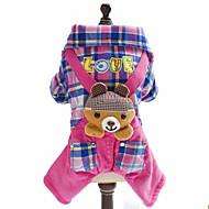 お買い得  -犬 ジャンプスーツ 犬用ウェア 格子柄 ブリティッシュ 動物 ブルー ピンク フリース コットン コスチューム ペット用 男性用 女性用 ファッション