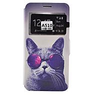 Недорогие Чехлы и кейсы для Galaxy A9(2016)-Кейс для Назначение SSamsung Galaxy Кейс для  Samsung Galaxy Бумажник для карт Защита от пыли Защита от удара со стендом Чехол С собакой