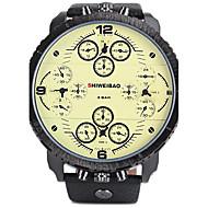 お買い得  -SHI WEI BAO 男性用 スポーツウォッチ 軍用腕時計 クォーツ カレンダー 3タイムゾーン クール レザー バンド ハンズ ぜいたく ブラック - ホワイト ブラック
