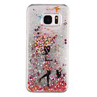 Umbrella Girl Pattern Flowing Quicksand Liquid Glitter Plastic PC For Samsung Galaxy S7 edge Galaxy S7