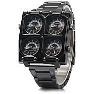 tanie Markowe zegarki-SHI WEI BAO Męskie Wojskowy Kwarcowy Trzy strefy czasowe Stal nierdzewna Pasmo Nowoczesne Czarny Black