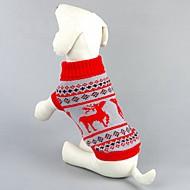 Cica Kutya Pulóverek Kutyaruházat Klasszikus Karácsony Rénszarvas Fekete Piros Jelmez Háziállatok számára