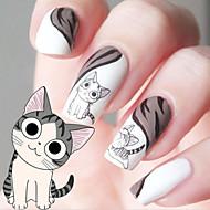 preiswerte -Wassertransferdruck Cartoon Kätzchen Muster Nagel Aufkleber