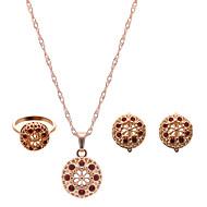 preiswerte -Damen Schmuckset Luxus Modisch bezaubernd Hochzeit Party Strass Rose Gold überzogen Diamantimitate Aleación Haken Ohrringe Halsketten