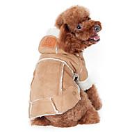 billige Kæledyr Forsyninger-Hund Frakker Hættetrøjer Hundetøj Ensfarvet Kaffe Vin Mørkebrun Bomuld Kostume For kæledyr Herre Dame Hold Varm Mode