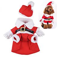 Hund Dräkter/Kostymer Hundkläder Gulligt Cosplay Jul Tecknat Röd Kostym För husdjur