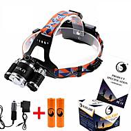 ZQ-G808 헤드 램프 스트랩 LED 8500LM 루멘 4.0 모드 Cree XM-L T6 2 x 18650 배터리 조절가능한 초점 앵글헤드 슈퍼 라이트 밝기조절가능 휴대성 용 캠핑/등산/동굴탐험 일상용 사냥 등산 야외 낚시 여행 멀티기능