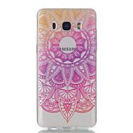 Недорогие Чехлы и кейсы для Galaxy J1(2016)-Кейс для Назначение SSamsung Galaxy J7 (2016) J5 (2016) Ультратонкий Прозрачный С узором Кейс на заднюю панель Цветы Мягкий ТПУ для J7
