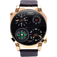 Oulm Herre Militærklokke Armbåndsur Unike kreative Watch Quartz Kompass Termometere Dobbel Tidssone Ekte lær Band Kul Fritid Luxury Svart