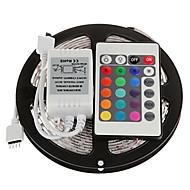 billige LED-stribelys-Lyssæt 300 lysdioder RGB Fjernbetjening Chippable Dæmpbar Farveskiftende Selvklæbende Koblingsbar Jævnstrøm 12V DC 12V