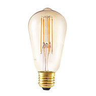 6W E26/E27 LED Filament Bulbs ST58 4 COB 550 lm Amber 2200 K Dimmable Decorative AC 220-240 V