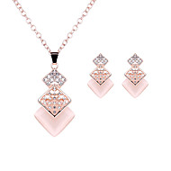 Women's Luxury Fashion Wedding Party Daily Casual Imitation Diamond Square Geometric 1 Necklace 1 Pair of Earrings