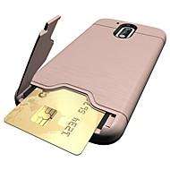Для Бумажник для карт / со стендом Кейс для Задняя крышка Кейс для Один цвет Твердый PC для Motorola MOTO G4 / Мото G4 Plus