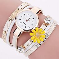 Xu™ Dame Moteklokke Armbåndsur Quartz PU Band Vintage Blomst Vedhend Armband Fritid Svart Hvit Blå Rød Grå