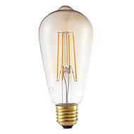 5W E26/E27 LED Filament Bulbs ST64 4 COB 350 lm Amber 2200 K Dimmable Decorative AC 220-240 V