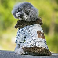 저렴한 -강아지 코트 데님 자켓 강아지 의류 청바지 블랙 블루 폴라 플리스 데님 코스츔 애완 동물 카우보이 따뜻함 유지 패션