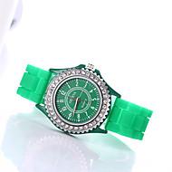 billige -Dame Armbåndsur Diamond Watch Quartz Silikone Sort / Hvid / Blåt Imiteret Diamant / Analog Damer Glitrende Mode - Blå Lys pink Lyseblå Et år Batteri Levetid / Tianqiu 377