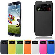 Недорогие Чехлы и кейсы для Galaxy S-Кейс для Назначение SSamsung Galaxy Кейс для  Samsung Galaxy с окошком Флип Чехол Сплошной цвет Кожа PU для S4