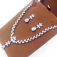 abordables -Mujer Zirconia Cúbica Conjunto de joyas Zirconio, Zirconia Cúbica Forma de Hoja Incluir Plata Para Fiesta / Pendientes / Collare